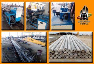 خط تولید تیر گرد بتنی پیش تنیده به روش سانتریفیوژ شرکت ستون ساز جنوب در خوزستان